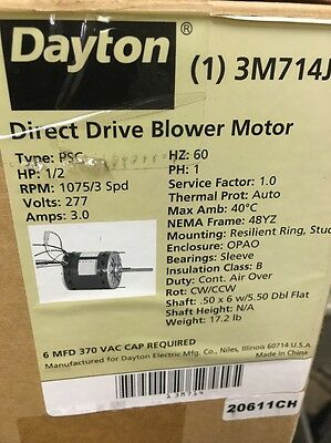 DAYTON 3M714J Direct Drive Blower Motor 1/2 HP, 1075 RPM, 277V ***NEW***