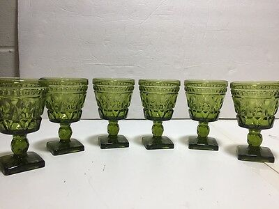 Vtg Indiana COLONY PARK LANE Pressed Glasses Cordials Green set 6 Apertif small