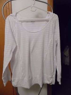 Mother hood Maternity semi-sheer white shirt/hood size L cotton