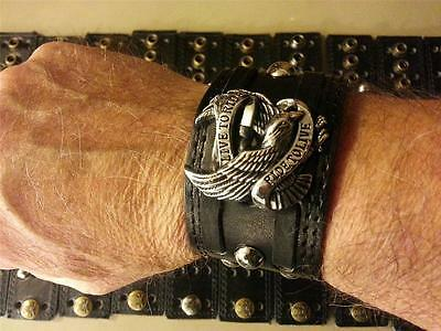Leather_Harley biker_Motorcycle_wristband_vest extender_Live to Ride_eagle_studs