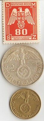 - 8 -*WW2 - Zink, Steel,  Brass,  Silver, - *us  and *german   coins/STAMPS +
