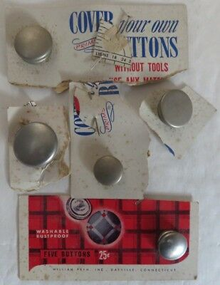(5) Vintage Unused Metal Button Covers - Various Sizes              (Inv12780)