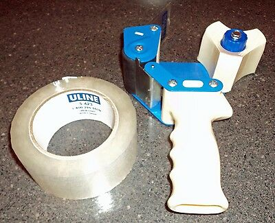 "Uline Industrial Packing 2"" Tape Dispenser Gun H-150 1 Roll of S-423 Clear Tape"