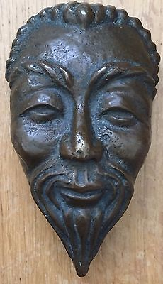 Antique Chinese Unique Well Cast In Solid Way Of Old Man Mask Heavy Bronze