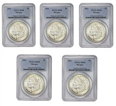 1921 Morgan Silver Dollar PCGS MS64 Lot of 5