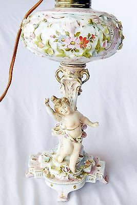 Antique German Porcelain Figural Lamp Cherub Dresden Flowers for Restoration