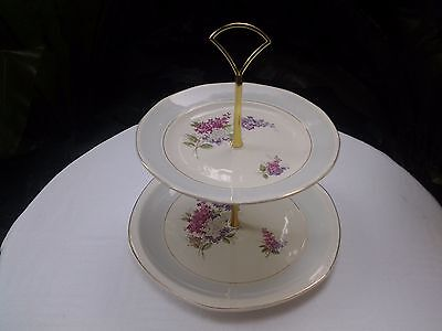 """Vintage Two Tier Cakestand Royal Tudor Ware """"Lilactime"""""""