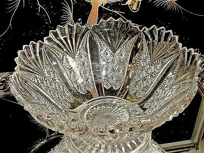 Magnificent American Brilliant Cut Crystal Glass Footed Bowl / Comport C 1900's