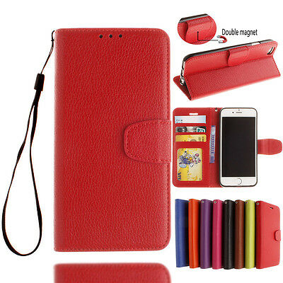 Genuine Leather Flip Credit Card Slot Stand Cover Case Wallet For iPhone 5 6s 7
