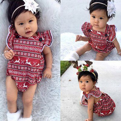 Newborn Infant Kids Baby Girl Christmas Romper Jumpsuit Bodysuit Outfit Sunsuit