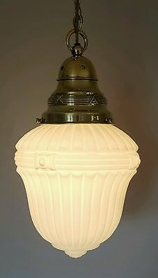 Antique Edwardian c1910 White Opaline Ceiling Lamp Light. Fully Rewired.