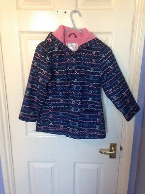 Primark Girls Padded Fleece lined Raincoat Age 7/8 years Blue Ex Condition