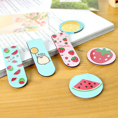 2XFruit Metal Magnetic Bookmarks Note Memo Stationery Book Mark Bookworm hcuk
