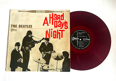 THE BEATLES A Hard Days Night JAPAN ODEON RED WAX VINYL LP OP-7123 w/Insert