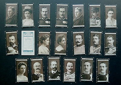 Cigarette Trade Cards: pt set  Will's Euro Royalty 1908 (51-100)