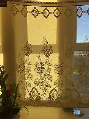 Vintage c1930 Arts & Crafts period shabby chic coton lace curtain panel 36""