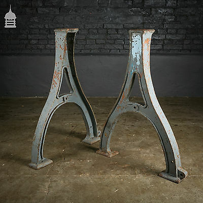 Pair of Cast Iron Industrial Bases Machine Legs