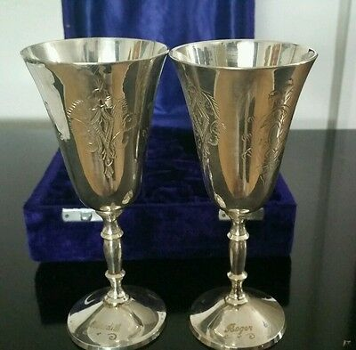 Pair Of Vintage Silver Plated Engraved Goblets In  Blue Velvet Box