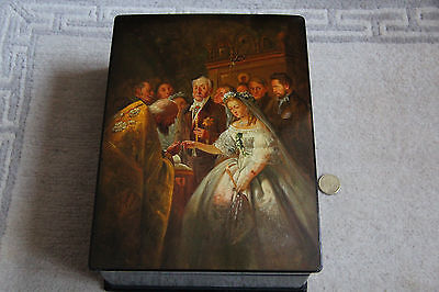 Russische Lackdose, Fedoskino 1960er, Russland, Lackmalerei, Russian Lacquer Box