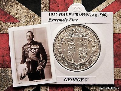 EXTREMELY FINE? 1922 Half Crown (Silver .500) George V
