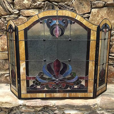 Antique Vintage Estate Leaded Stained Glass Bi-Fold Fireplace Fire Screen