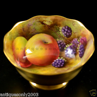 RARE ROYAL WORCESTER Fruit Hand Painted Gilded Sugar Bowl HORACE PRICE SIGNED