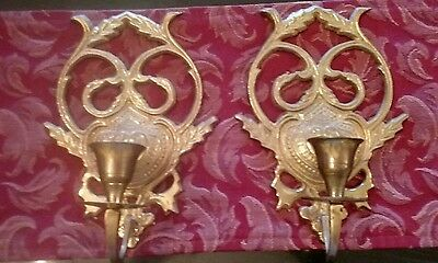 "Vintage PAIR WALL SCONCES~SOLID BRASS SHIELD w/ LAUREL LEAF~Single Candle~8""x5"""
