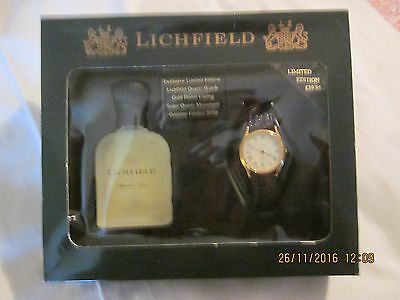Men's Gift Pack of Lichfield Aftershave lotion and watch