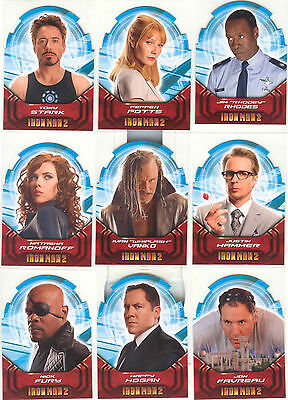 """Iron Man 2 - """"Actors Die-Cut Cards"""" Set of 9 Chase Cards #AH1-9"""