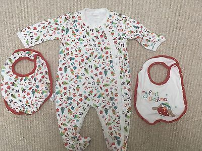 Baby Mamas And Papas Christmas Sleepsuit And Bibs Set 3-6 months