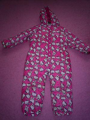 "Girls ""Hello Kitty Label"" Pink Padded Hello Kitty Snowsuit  Age 4-5 years"