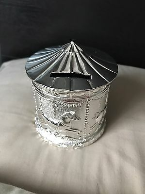 New Silver Plated Carousel Money Box Christening Gift
