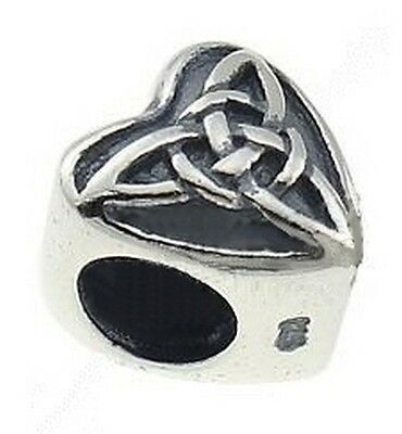 CELTIC Heart - TRINITY KNOT- Triquetra - Solid 925 sterling silver charm bead