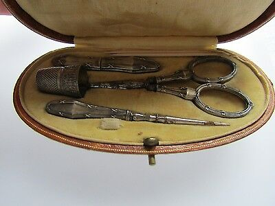Cased Antique French Cased Solid Silver Necessaire Etui Sewing Set c1890