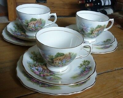 Royal Vale 'Cottage Garden' Bone China 3 Trios- Cups, Saucers, Side Plates