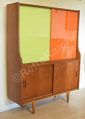 Danish inspired Retro Bookcase, Teak with Funky Coloured Glass Vintage Sideboard
