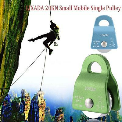 20KN Rock Climbing Climb Rigging Mobile Pulley Single Side 12mm Rope Gear D8Z8