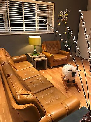 Large Vintage Leather 60s/70s 3 Piece Suite Sofa Settee & 2 Matching Armchairs