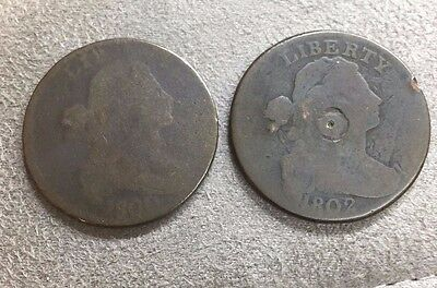 Two Large One Cent Coins 1800 and 1802