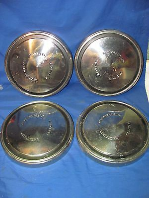 Set Of 4 Vintage Ford Motor Company Chrome Hubcaps Dog Dish Wheel Covers