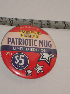 Hard To Find Waffle Patriotic Mug Promo Uniform Pin/button  3""