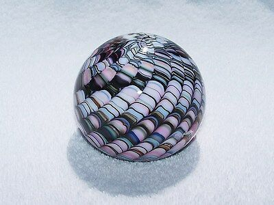 SIGNED GIBSON Multi-colored SNAKESKIN ART GLASS PAPERWEIGHT