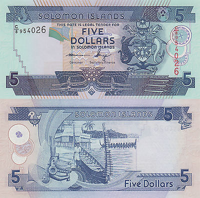 Solomon Islands 5 Dollars (2004) - Carving/Boats/p26 C8 Prefix UNC