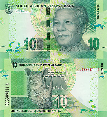 South Africa 10 Rand (2012) - Mandela/Rhino/p133 UNC