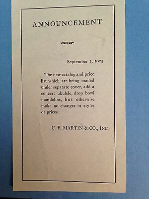 C. F. Martin & CO.1925 Announcement With Hand Written Notes On Back
