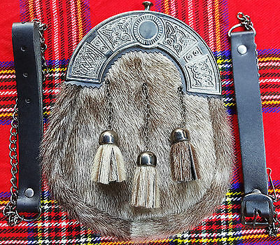 New Scottish Kilt Tassels Leather Sporran with Chain belt/килт Sporrans