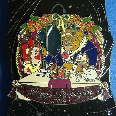 Beauty and the Beast Stained Glass Thanksgiving Disney Pin WDI Destination D LE