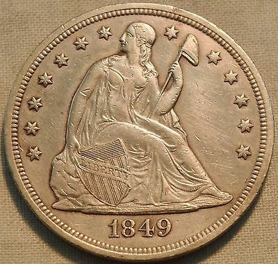 1849 Seated Liberty Silver Dollar, Higher Grade Details, Scarce Type, Sharp $1