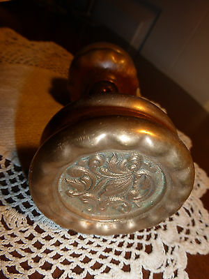 Vintage heavy cast fancy Victorian brass set of door knobs    #1
