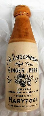 Rare Antique Pictorial Stoneware Ginger Beer Bottle From Maryport. Codd. Pot Lid